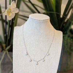 Jewelry - Silver Necklace with 5 hanging diamond stars
